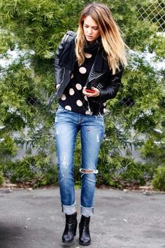 I sort of do this style already, but I like that she paired polka dot shirt (something whimsical) with a leather jacket (something tough).