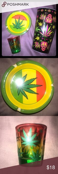 Nwt marijuana leaf ash tray, shot glass, & cup Pot leaf ceramic ash tray, glass shot glass and plastic cup, very neat, accepting offers mary jane Accessories Glasses