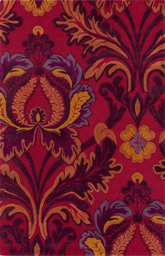 Wow every visitor to your bohemian abode with this red, purple, and orange damask rug from Surya! | MBA-9037