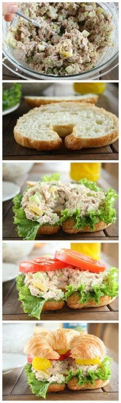 The Best Tuna Fish Sandwich Ingredients 2 - 7 oz. cans tuna packed in water, drained well 3 green onions, sliced white and green parts cup chopped dill pickles 1 large celery stalk, chopped Tuna Recipes, Seafood Recipes, Cooking Recipes, Healthy Recipes, Salad Recipes, Crostini, Soup And Sandwich, Salad Sandwich, Tuna Fish Sandwich Recipe