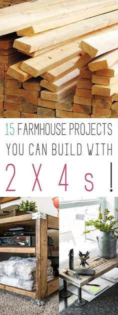 15 Farmhouse Projects You Can Build With 2X4s.  You will be able to build incredible Farmhouse Furniture on the Cheap and no one will ever know!  Which one would you like to build?  #Farmhouse #DIYFarmhouseFurniture #DIYFurniture #FixerUpper #FarmhouseHomeDecor #2X4DIYProjects #2X4FurnitureProjects #2X4FarmhouseFurnitureProjects