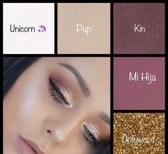 Beautiful creamy and glittery Maskcara Beauty eyeshadows shown on a brunette with light eyes. Mauve and maroon tones really help make blue and green eyes pop! #beautymakeup