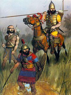 Angus McBride - Guerreros asirios, principios del siglo VII AC.