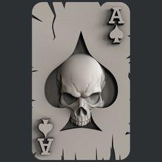 3d STL models for CNC, Artcam, Aspire, ace of spades skull