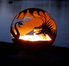 Pendragons Hearth - Dragon Fire Pit 37 - The Fire Pit Gallery This may very well be THE coolest fire pit Ive ever seen! Fire Pit Sphere, Metal Fire Pit, Diy Fire Pit, Fire Pit Backyard, Backyard Seating, Dragon Fire Pit, Fire Pit Gallery, Fire Pit Materials, Cool Fire Pits