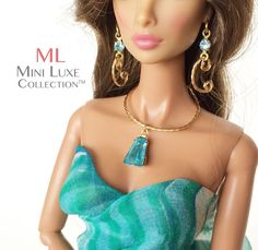 Doll Jewelry Turquoise Crystal and Gold by MiniLuxeCollection