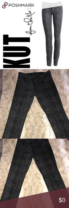 Kut From The Kloth Diana Snake Print Skinny Leg Kut From The Kloth Diana Snake Print Skinny Leg in charcoal. In good very condition. Very comfortable with stretch.  • 62% Rayon • 34% Polyester  • 4% Spandex Kut from the Kloth Jeans Skinny