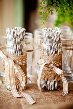 DIY Wedding Decoration: Mason jars wrapped with burlap and brown ribbon to hold straws. Chic Wedding, Rustic Wedding, Our Wedding, Burlap Mason Jars, Byron Bay Weddings, 50th Birthday Party, Rustic Birthday, Birthday Ideas, Paper Straws