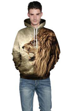 Long hooded sweater with Lion 3D digital print hooded sweater – menlivestyle Sweat Shirt, Hoodie Brands, Winter Tops, Cheap Hoodies, Women Brands, Mens Sweatshirts, Pulls, New Fashion, Men Casual