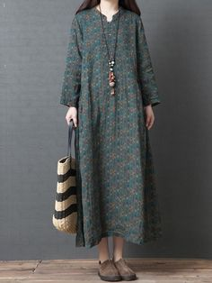 MID-CALF LONG SLEEVE PRINT FALL EXPANSION DRESSES #Dress #Leatrend