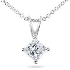 Princess Cut Diamond Solitaire Pendant in Plus Quality in White, Yellow  #JewelryDesign
