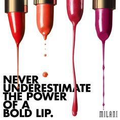 Milani Cosmetics and beauty products, including face makeup, nail color and a full range of top quality makeup products, for women of any age, style or skintone Lips Quotes, Makeup Quotes Funny, Drugstore Makeup, Lip Makeup, Milani Cosmetics, Beauty Regime, Bold Lips, Beauty Art, Makeup Trends