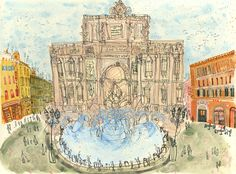 TREVI FOUNTAIN ROME Art Print Italy, Signed Limited Edition Print, Watercolor Painting, Fontana di Trevi, Italian Wall Art, Clare Caulfield by ClareCaulfield on Etsy https://www.etsy.com/listing/249589495/trevi-fountain-rome-art-print-italy