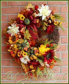 Fall Blessings Sunflower Large Autumn Wreath, Pumpkin, Acorn, Thanksgiving, mum, Red, orange, yellow, burgundy, Cream by IrishGirlsWreaths on Etsy