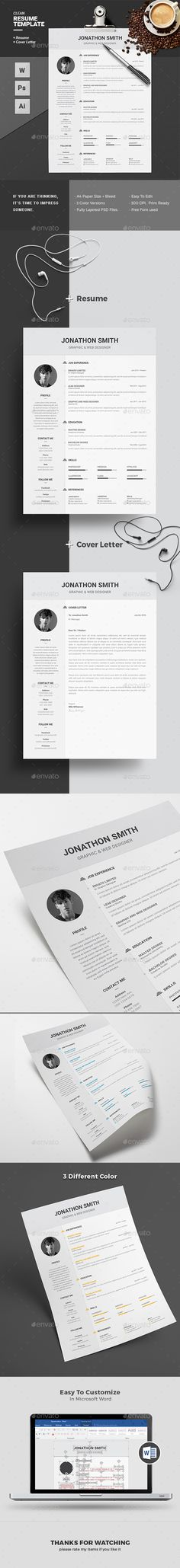 Resume Template PSD, Vector EPS, AI Illustrator, MS Word