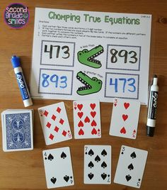 Chomping True Equations!  One of 13 self-checking write and wipe games for independent or guided practice included in my Place Value Write and Wipe Games! These are perfect for learning and practicing  place value through 1000 in math centers and math workshop in grade 2! $