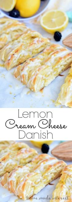 This flaky Lemon Cream Cheese Danish is an easy breakfast or brunch recipe made . This flaky Lemon Cream Cheese Danish is an easy breakfast or brunch recipe made with puff pastry and filled with a c Lemon Desserts, Lemon Recipes, Sweet Recipes, Easy Recipes, Healthy Recipes, Healthy Lunches, Sweet Desserts, Apple Recipes, Breakfast Pastries