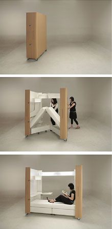 Small House Folding Interior -   Japanese designers Atelier OPA created a unique set of products, which are perfect for small spaces.  Includes a mobile home office, a small kitchen, and a guest room (pictured). When not in use, fold your furniture away. Ideal small space storage solution :  busyboo