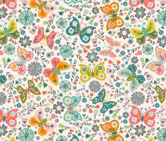 Vintage Butterfly Garden fabric by christinewitte on Spoonflower - custom fabric
