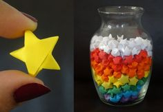 How to make origami stars. Going to make bigger ones from wrapping paper and string into garland for my tree