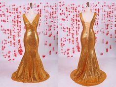 Shiny Gold sequins prom dress, mermaid prom dress,V-neck