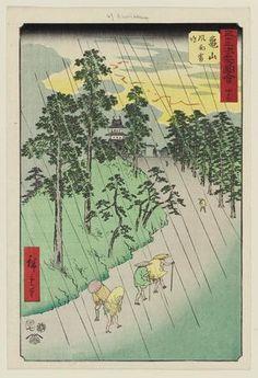Utagawa Hiroshige: No. 47, Kameyama: Wind, Rain and Thunder (Kameyama, fûu raimei), from the series Famous Sights of the Fifty-three Stations (Gojûsan tsugi meisho zue), also known as the Vertical Tôkaidô - Museum of Fine Arts
