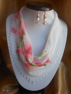 Beaded scarf Necklace scarf Women scarf Pink beaded necklace Floral necklace Delicate necklace Gift for her Apple blossom Jewelry beaded Scarf Necklace, Floral Necklace, Seed Bead Necklace, Beaded Necklace, Beading Tutorials, Beading Patterns, Collar Floral, Beaded Jewelry Designs, Beading Needles