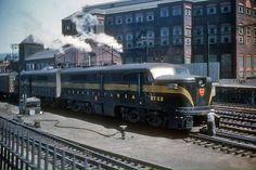 Pennsylvania Railroad ALCO PA-1 #5752 in Altoona, Pennsylvania on July 25, 1952.