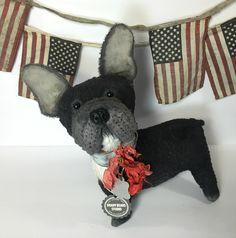 Patriotic, Americana, realistic, French bulldog, dog from Brady Bears Studio artist Karen Brady