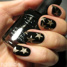 Black with silver stars.