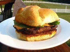 "Portobello Burger by lindrusso, via Flickr  ""ROASTED RED PEPPER SPREAD RECIPE"""
