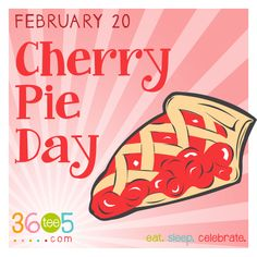 February 20 is National Cherry Pie Day National Chili Day, Special Day Calendar, Wacky Holidays, National Margarita Day, Fruit Pie, Hand Pies, Holiday Fun, Holiday Recipes, February