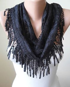 Black Lace Scarf with Black Trim Edge - Lace Fabric