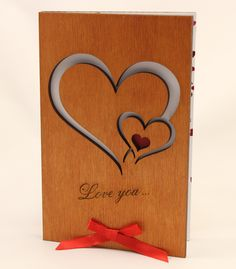 Real Wood love valentine romantic Anniversary wood Card - Gift for him men Husband women her Wife (Two Hearts)
