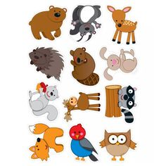 Go wild for these woodland creatures. Contains 3 each of the following forest animals: hedgehog, deer, bunny, skunk, fox, owl, beaver, bird, squirrel, raccoon, moose, and bear. A total of 36 die-cut shapes printed on card stock.Key Features : Spotlight your classroom theme, encourage good behavior, create award, and so Forest Theme, Woodland Theme, Forest Animals, Woodland Animals, Nocturnal Animals, Jungle Animals, Forest Friends, Woodland Creatures, Animal Crafts