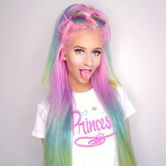 🌈🌈🌈 Princess 😜😎😜 Tee from 👑👑👑 Rainbow sunnies 😎 . Eyeshadow Makeup, Hair Makeup, Beautiful Hair Color, Rainbow Hair, Hair And Nails, Amy, Mermaid, Hair Beauty, Long Hair Styles