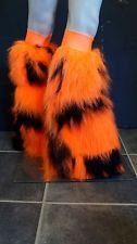 Funki-b halloween orange noir camo fluffies à fourrure jambières costume robe fantaisie