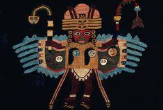 Britain's Most Haunted Dad, Paracas textiles. Peruvian Art, Peruvian Textiles, Art Premier, Weaving Designs, Statues, Textile Fiber Art, Brazilian Embroidery, Ethnic Patterns, Korean Art