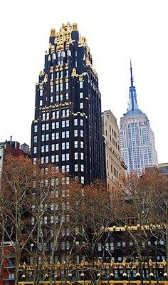 One of my favorite buildings in NYC, the American Radiator Building aka Bryant Park Hotel. New York Architecture, Study Architecture, Amazing Architecture, Bryant Park Hotel, Ville New York, Stained Glass Church, New York Photos, World Trade, Old Buildings