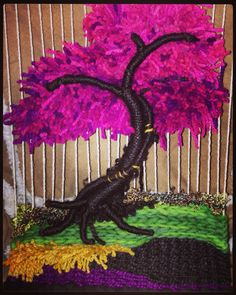 Crochet Quilt, Crochet Art, Weaving Projects, Art Projects, Tapestry Loom, Weaving Wall Hanging, Textile Fiber Art, Landscape Quilts, Wreath Crafts
