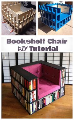 DIY Bookshelf Chair for Book Worms DIY Bookshelf Bookcase Chair Tutorial Related posts: How to Build a Simple Modern DIY Bookshelf DIY Chair Bench. I like instructions with pictures DIY an awesome bookshelf.