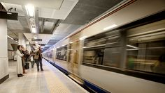 the gautrain arriving at rosebank station