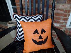 Orange Burlap Pumpkin and Black Chevron Halloween Pillow Set, Fall decor, Embroidered pillow, Halloween decoration