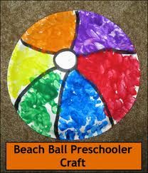 Rather than predraw sections, just provide paper plates at the easel for the children to create their own balls! Beach Ball Crafts, Ocean Crafts, Kids Beach Crafts, Beach Ball Party, Beach Themed Crafts, Fun Crafts, Preschool Summer Theme, Summer Crafts For Toddlers, Preschool Camping Crafts