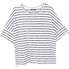 MANGO Striped t-shirt (465 MXN) ❤ liked on Polyvore featuring tops, t-shirts, shirts, short sleeve, white stripes t shirt, t shirt, tee-shirt, striped short sleeve shirt and striped shirt