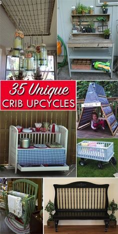 35 Ways to Repurpose Cribs (and Parts of Cribs) Easy DIY upcycling projects for both the crib itself and the individual pieces (like the sides and srpings!) - April 27 2019 at Repurposed Items, Upcycled Crafts, Repurposed Furniture, Refurbished Furniture, Easy Diy Upcycling, Upcycling Projects, Diy Projects, Old Baby Cribs, Old Cribs
