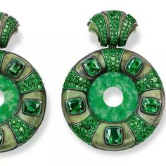 Hemmerle earrings with jade discs and tsavorites in silver and gold