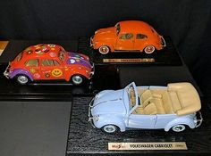 Volkswagen VW Bug Beetle Diecast Model Replica x2 & 1 Convertible Cabriolet 50s+