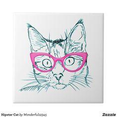 Hipster Cat Tile