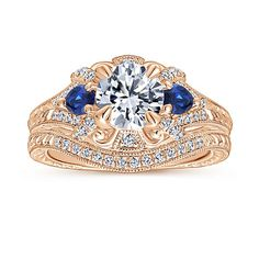 Rose Gold Round Sapphire and Diamond Engagement Ring Halo Engagement, Diamond Engagement Rings, Tiny Rings, Vintage Vibes, Hand Engraving, Fashion Rings, Blue Sapphire, Stones, Bling